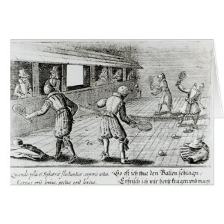 A Game of Real Tennis with Sport Ballads below Cards