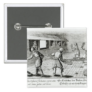 A Game of Real Tennis with Sport Ballads below Pinback Button