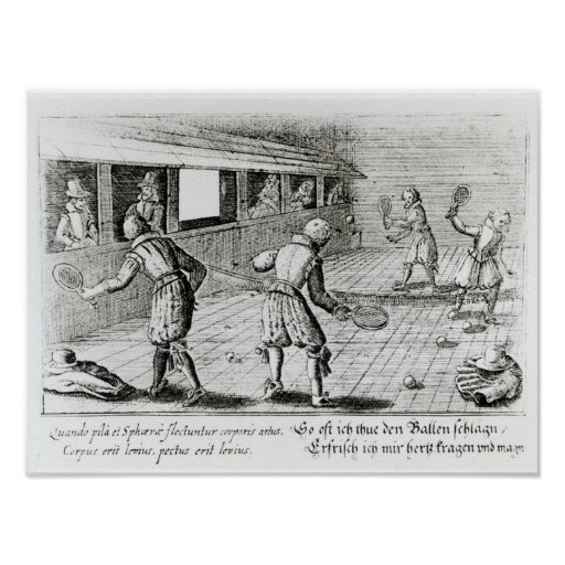 A Game of Real Tennis with Sport Ballads below Posters