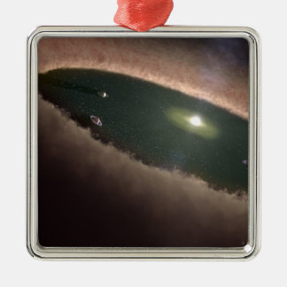 A gap in a protoplanetary, or planet-forming square metal christmas ornament