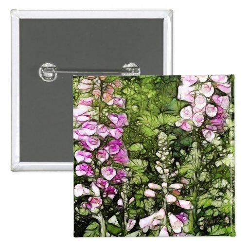 A garden full of Foxgloves 2 Inch Square Button