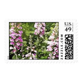 A garden full of Foxgloves Postage Stamp