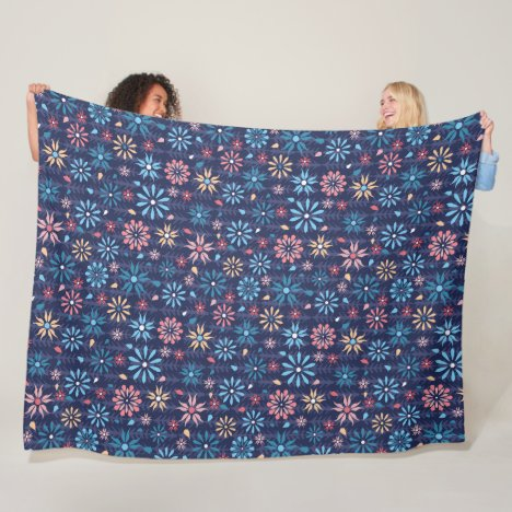 A garden of pretty vintage flowers fleece blanket
