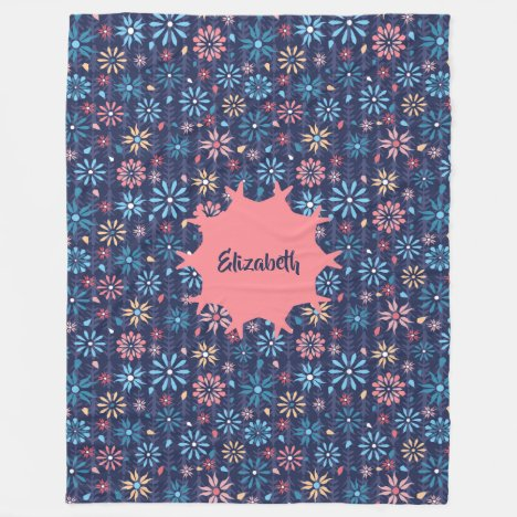 A garden of pretty vintage flowers personalised fleece blanket