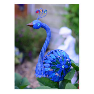 A garden peacock yard art teal and green postcard
