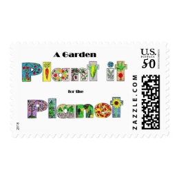A Garden, Plant it for the Planet, earthday slogan Postage