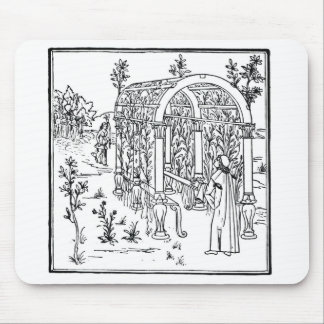 A garden scene, from 'Hypnerotomachia Poliphili' a Mouse Pad
