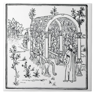 A garden scene, from 'Hypnerotomachia Poliphili' a Tile