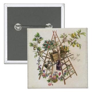 A garden textile design , from 'Oeuvre contenant u Pinback Button