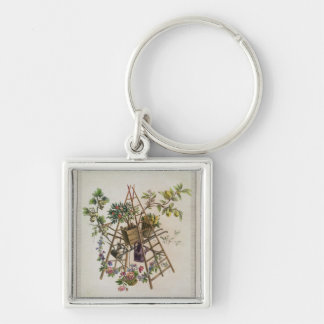A garden textile design , from 'Oeuvre contenant u Silver-Colored Square Keychain