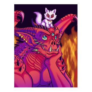 A gargoyle and his pet postcard