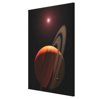 A gas giant planet orbiting a red dwarf canvas print