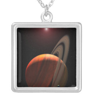 A gas giant planet orbiting a red dwarf square pendant necklace