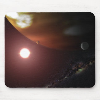 A gas giant planet orbiting a red dwarf star mouse pad
