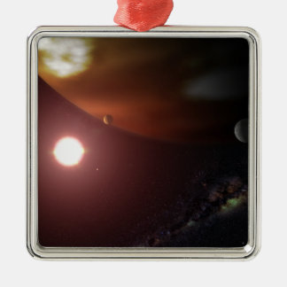 A gas giant planet orbiting a red dwarf star christmas ornaments