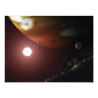 A gas giant planet orbiting a red dwarf star photo print