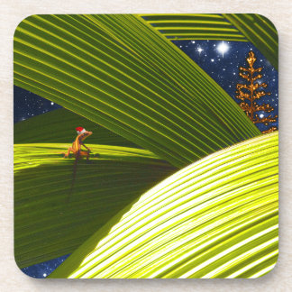 A Gecko Lizard's Tropical Christmas Drink Coaster