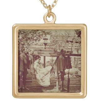 A Geisha being carried in a litter (sepia photo) Gold Plated Necklace
