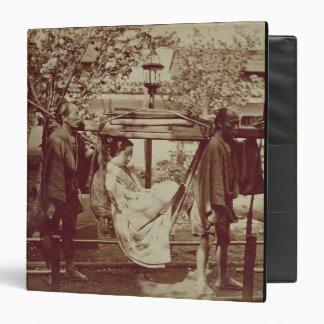 A Geisha being carried in a litter (sepia photo) Vinyl Binders