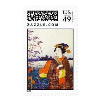 A Geisha by the Water Japanese Woodblock Ukiyo-E Stamp