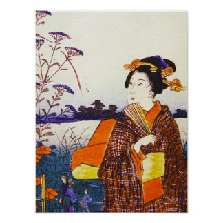 A Geisha by the Water Japanese Woodblock Ukiyo-E Poster