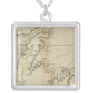 A General Chart Of The Island Of Newfoundland Square Pendant Necklace