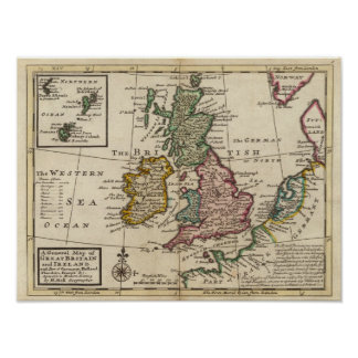 A general map of Great Britain and Ireland Poster