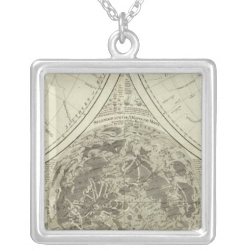 A general map of terraqueous globe or the world square pendant necklace