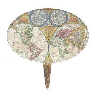 A General Map of the World by Samuel Dunn 1794 Cake Topper
