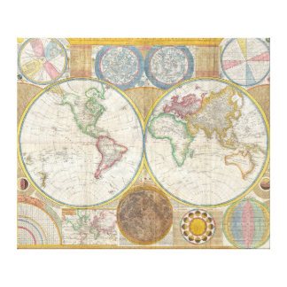 A General Map of the World by Samuel Dunn 1794 Canvas Print