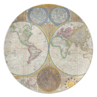 A General Map of the World by Samuel Dunn 1794 Dinner Plate