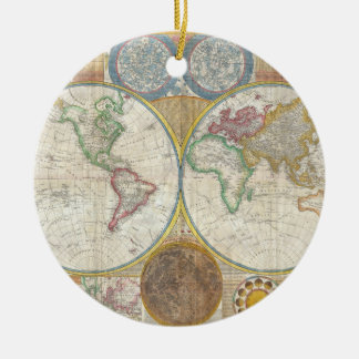 A General Map of the World by Samuel Dunn 1794 Double-Sided Ceramic Round Christmas Ornament