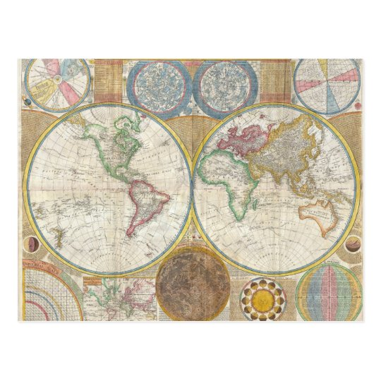 A General Map of the World by Samuel Dunn 1794 Postcard