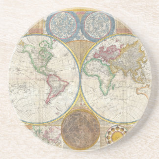 A General Map of the World by Samuel Dunn 1794 Sandstone Coaster