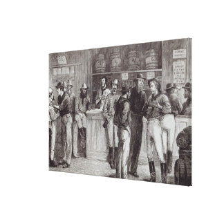 A general shout', inside a bush tavern, 1878 canvas print