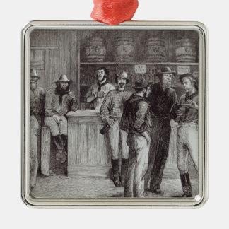 A general shout', inside a bush tavern, 1878 metal ornament