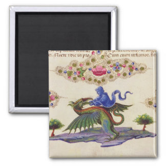 A Genie and Winged Monster 2 Inch Square Magnet