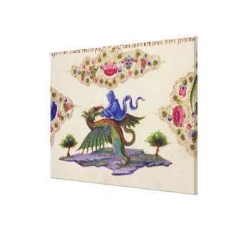 A Genie and Winged Monster Canvas Print