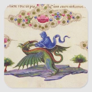 A Genie and Winged Monster Square Sticker