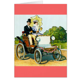 A Gentleman and His Lady Go For a Ride - Vintage Greeting Card