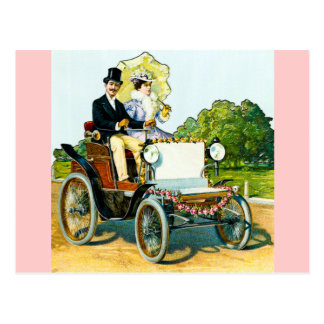 A Gentleman and His Lady Go For a Ride - Vintage Postcard