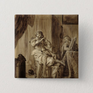 A Gentleman at his Toilet, 1660 Pinback Button