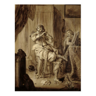 A Gentleman at his Toilet, 1660 Postcard