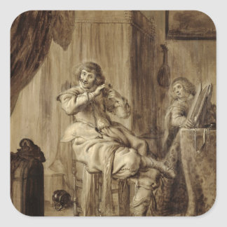 A Gentleman at his Toilet, 1660 Square Sticker