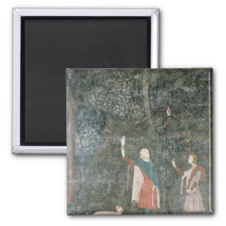 A Gentleman Hawking, from the Stag Room, 1343 2 Inch Square Magnet