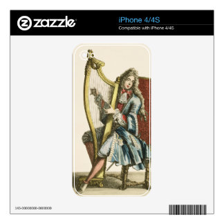A gentleman playing the harp (engraving) skin for the iPhone 4S