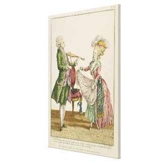 A gentleman playing the violin while a lady dances canvas print