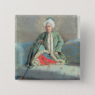 A Gentleman Seated on a Couch Pinback Button