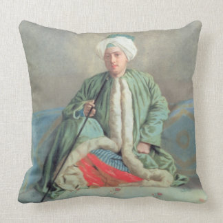 A Gentleman Seated on a Couch Throw Pillow