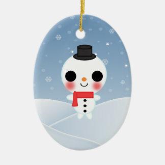 A Gentleman Snowman Oval Ornament